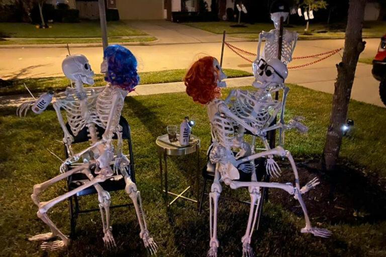 Texas woman gets flack for pole-dancing skeletons on Halloween