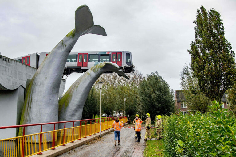 Whale sculpture saves crashed metro train in mid-air